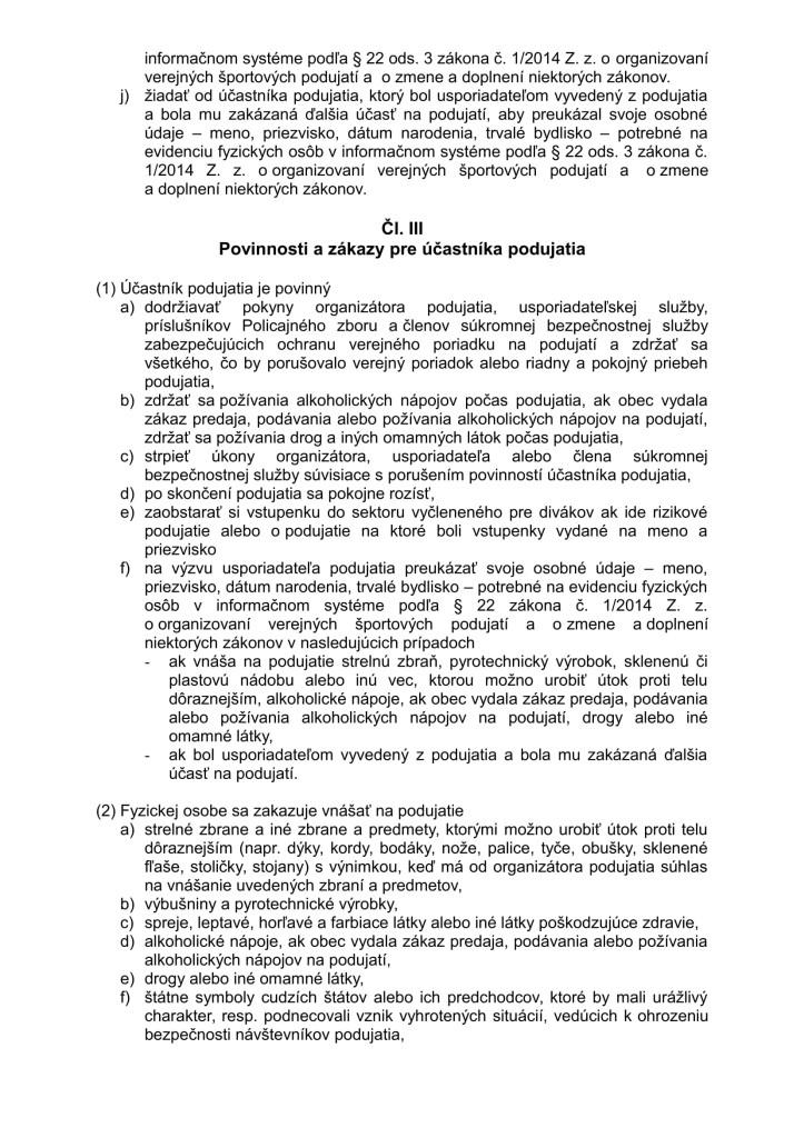 Nový Organizačný a návštevný poriadok športového podujatia 2014 (1)-3